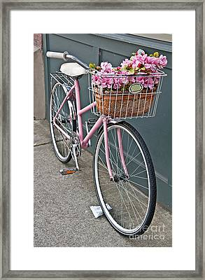 Vintage Pink Bicycle With Pink Flowers Art Prints Framed Print