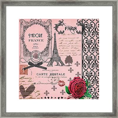 Vintage Pink Paris Collage Framed Print by Li Or