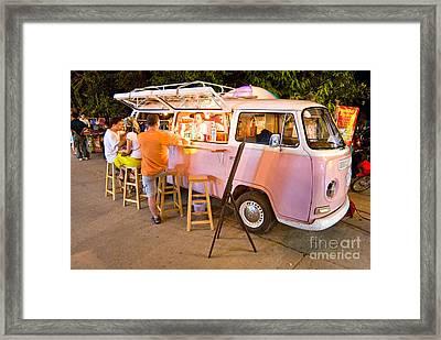 Vintage Pink Volkswagen Bus Framed Print