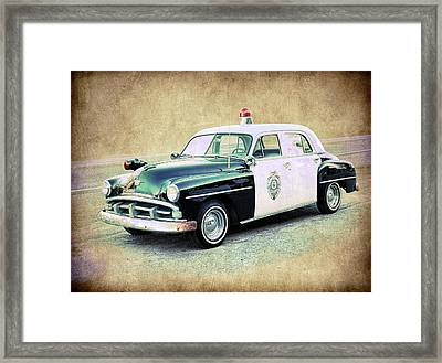 Vintage Plymouth Cop Car Framed Print by Steve McKinzie