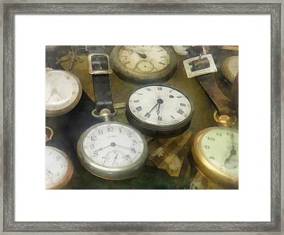Vintage Pocket Watches Framed Print by Susan Savad