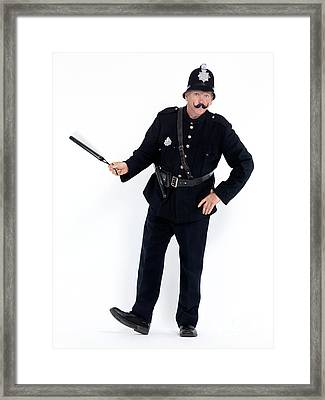 Vintage Police Officer With A Baton Framed Print