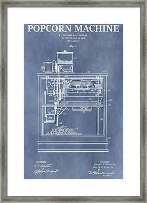 Vintage Popcorn Machine Patent Framed Print by Dan Sproul