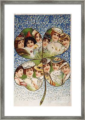 Vintage Postcard Of 1905 With A Lucky Clover Filled With Beautif Framed Print