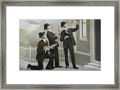 Vintage Postcard With Three Men Bringing An Aubade Framed Print by Patricia Hofmeester