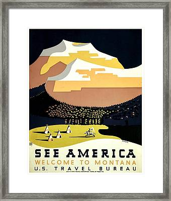 Vintage Poster - Montana Framed Print by Benjamin Yeager