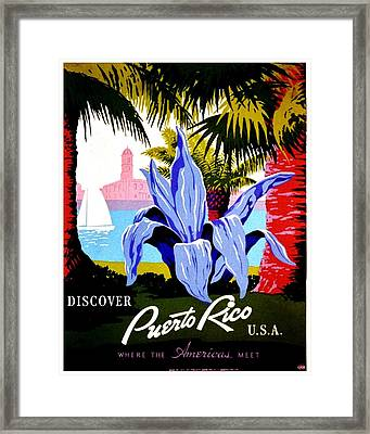 Vintage Poster - Puerto Rico Framed Print by Benjamin Yeager