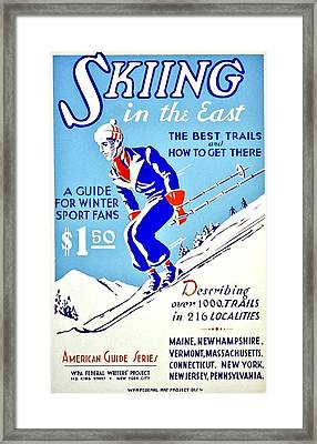 Vintage Poster - Sports - Skiing Framed Print by Benjamin Yeager