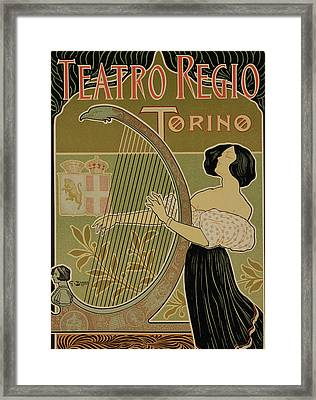 Vintage Poster Advertising The Theater Royal Turin Framed Print