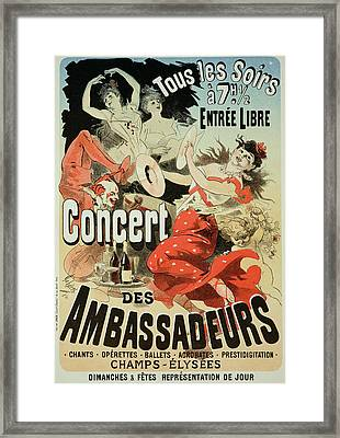 Vintage Poster Ambassadors Concert Framed Print by Jules Cheret