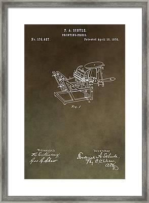 Vintage Printing Press Patent Framed Print