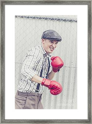 Vintage Prison Yard Boxer Settling The Score Framed Print by Jorgo Photography - Wall Art Gallery