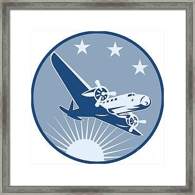 Vintage Propeller Airplane Retro Framed Print by Aloysius Patrimonio