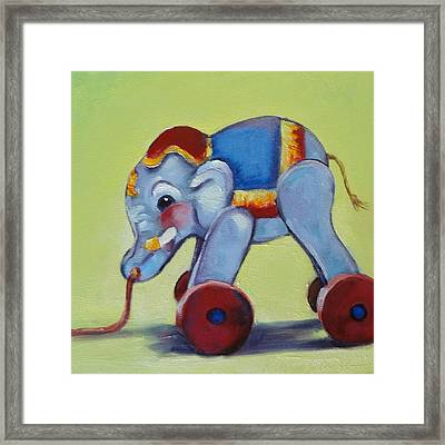 Vintage Pull Toy Series Elephant Framed Print by Kelley Smith