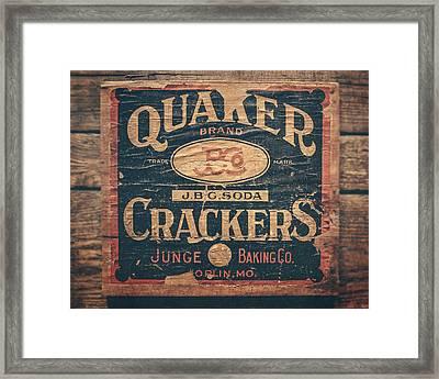 Vintage Quaker Crackers For The Kitchen Framed Print