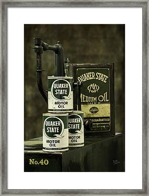 Vintage Quaker State Motor Oil Framed Print by Betty Denise