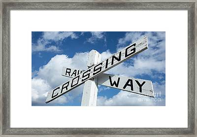 Vintage Railway Crossing Sign Framed Print