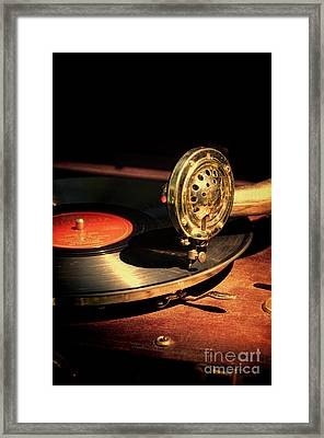 Vintage Record Player Framed Print by Jill Battaglia