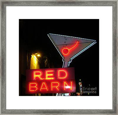 Vintage Red Barn Neon Sign Las Vegas Framed Print by John Malone