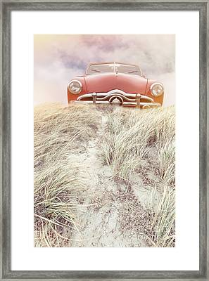 Vintage Red Car In The Sand Dunes Framed Print by Edward Fielding
