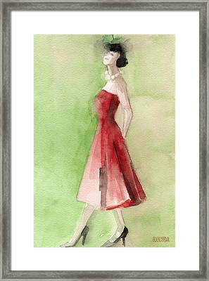 Vintage Red Cocktail Dress Fashion Illustration Art Print Framed Print by Beverly Brown