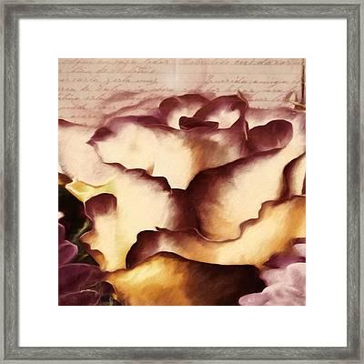 Vintage Red Lipped Petals Framed Print