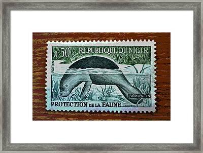 Vintage Republic Of Niger Stamp Framed Print