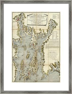 Vintage Rhode Island 1777 Map Framed Print by Dan Sproul