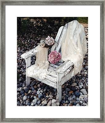 Vintage Romantic Shabby Chic Adirondac Chair Framed Print by Kathy Fornal