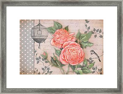 Vintage Rose Collage Framed Print by Paul Brent