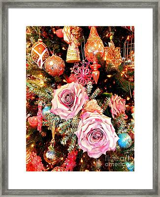 Vintage Rose Holiday Decorations Framed Print by Janine Riley