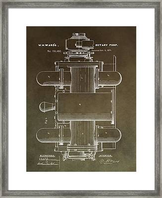 Vintage Rotary Pump Patent Framed Print by Dan Sproul
