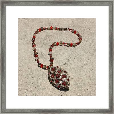 Vintage Ruby Rhinestone Flower Brooch Pendant Necklace 3633 Framed Print