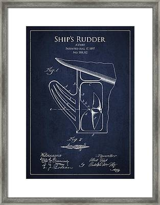 Vintage Rudder Patent Drawing From 1887 Framed Print