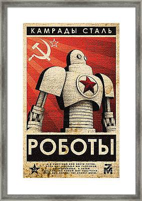 Vintage Russian Robot Poster Framed Print by R Muirhead Art