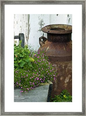 Vintage Rustic Cream Can Digital Oil Painting Framed Print by Sandra Foster