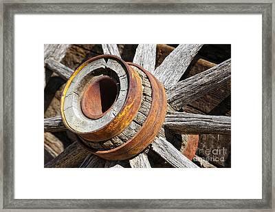 Framed Print featuring the photograph Vintage Rustic Wagon Wheel 1 by Lincoln Rogers