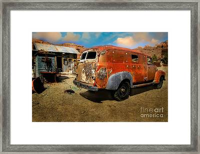 Vintage Rusty Chevy Panel Truck Framed Print by Brenda Giasson
