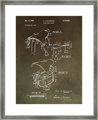 Vintage Saddle Patent Drawing Framed Print by Dan Sproul