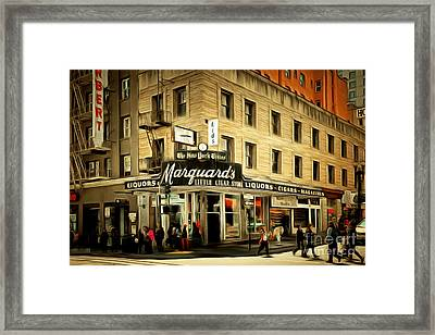 Vintage San Francisco Marquards Little Cigar Store Powell Street 5d17950brun Framed Print by Wingsdomain Art and Photography