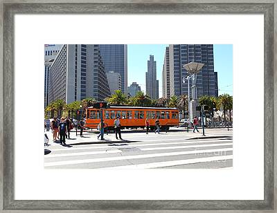 Vintage San Francisco Street Car On The Embarcadero 5d25384 Framed Print by Wingsdomain Art and Photography