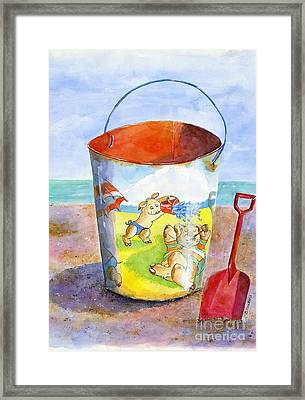 Vintage Sand Pail- 3 Pigs At The Beach Framed Print