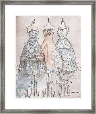 Vintage Scallops Lace And Bow Trio Framed Print by Lauren Maurer