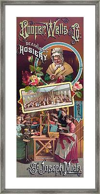 Vintage Seamless Hosiery Advertisement 1886 Framed Print by Mountain Dreams