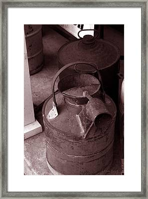 Framed Print featuring the photograph Vintage Sepia Galvanized Container by Lesa Fine
