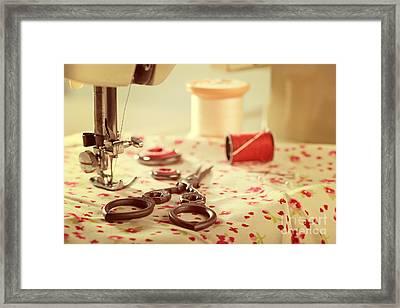 Vintage Sewing Items Framed Print by Amanda Elwell