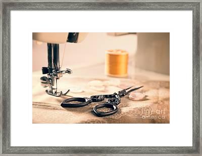 Vintage Sewing Machine Framed Print by Amanda Elwell