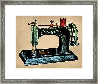 Vintage Sewing Machine Illustration Framed Print