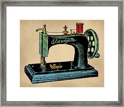 Vintage Sewing Machine Illustration Framed Print by Flo Karp