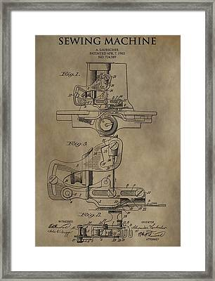 Vintage Sewing Machine Patent Framed Print by Dan Sproul